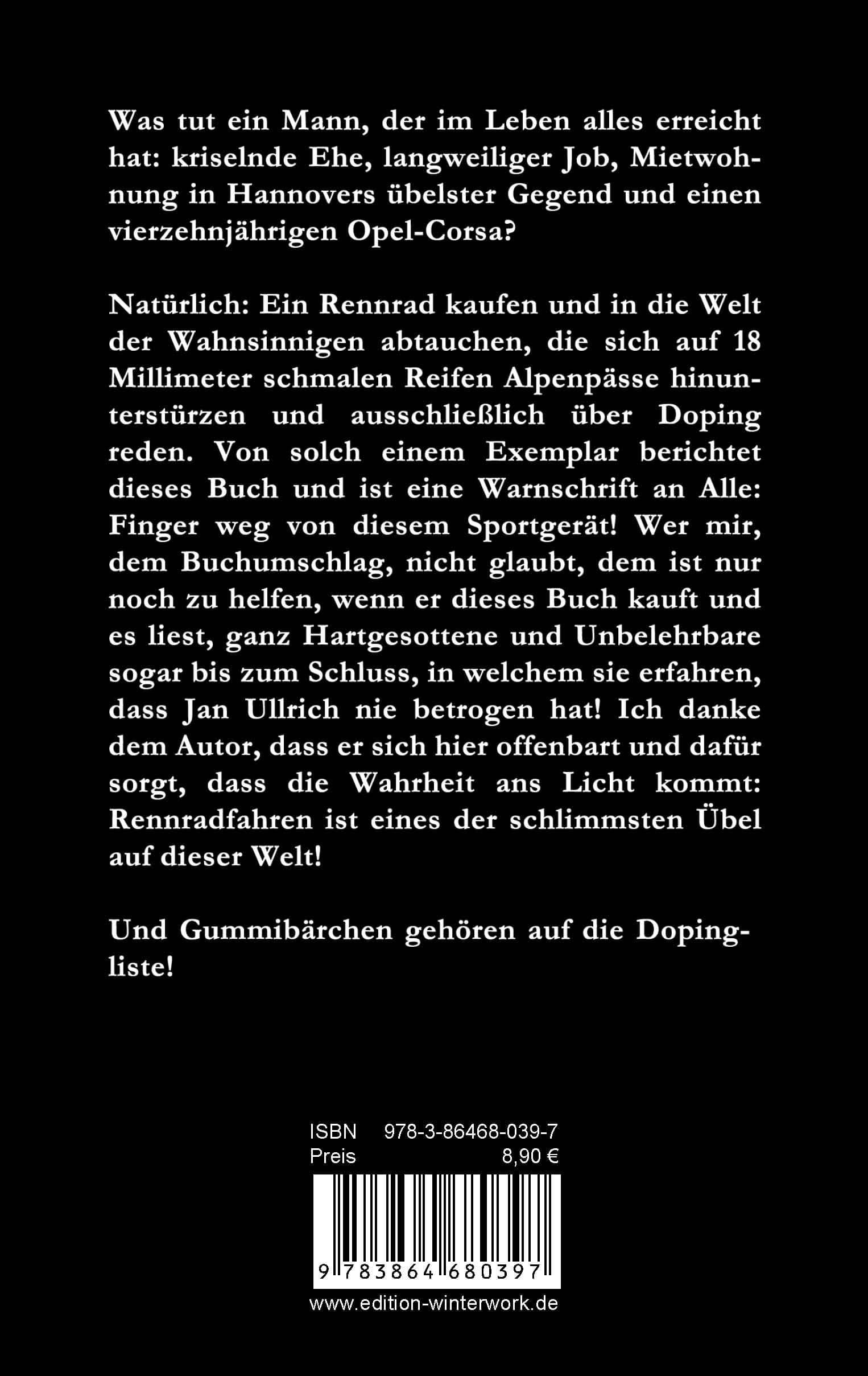 """Buchrückseite der Rennrad-Satire """"Gummibärchen auf die Dopingliste"""