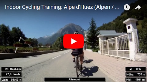 Alpe d'Huez Indoor-Cycling-Video auf Youtube (Alpen / Frankreich)